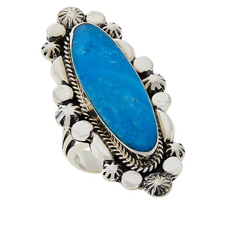 Chaco Canyon Sterling Silver Oval Blue Kingman Turquoise Ring