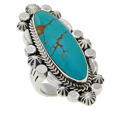 Chaco Canyon Sterling Silver Oval Ceremonial Green Turquoise Ring