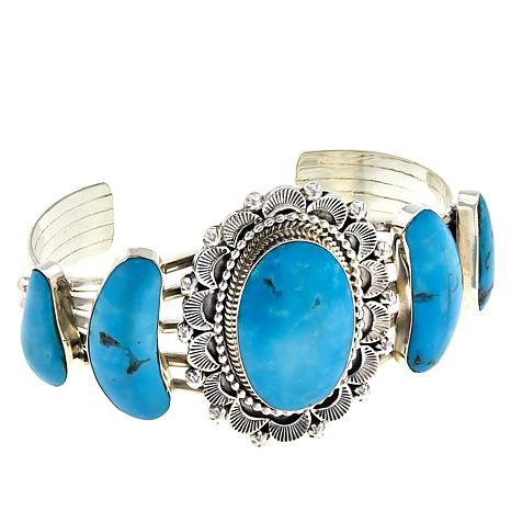 Chaco Canyon Sterling Silver Stamped Sun Turquoise Cuff