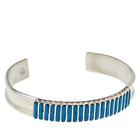 Chaco Canyon Sterling Silver Zuni Sleeping Beauty Turquoise Cuff