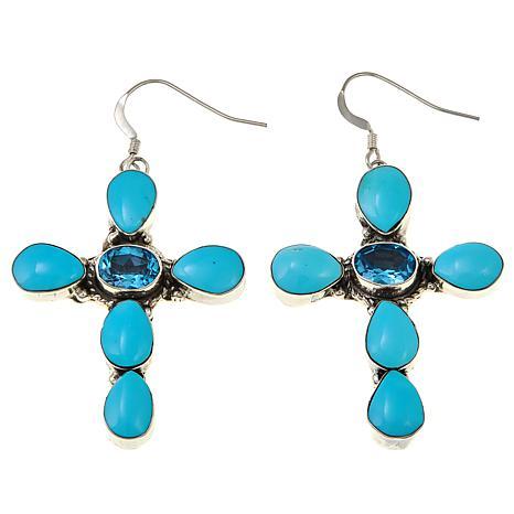 Chaco Canyon Swiss Blue Topaz and Kingman Turquoise Cross Earrings