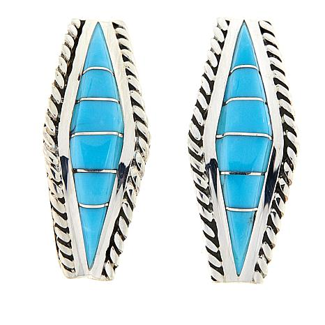 Chaco Canyon Turquoise Inlay Elongated Sterling Silver Earrings