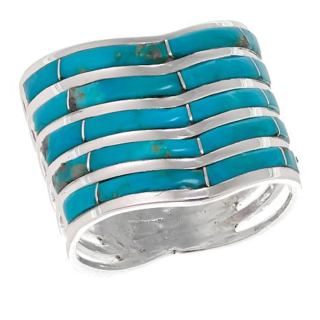 Chaco Canyon Zuni Kingman Turquoise Chevron Ring