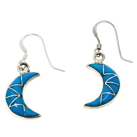 Chaco Canyon Zuni Kingman Turquoise Crescent Drop Earrings