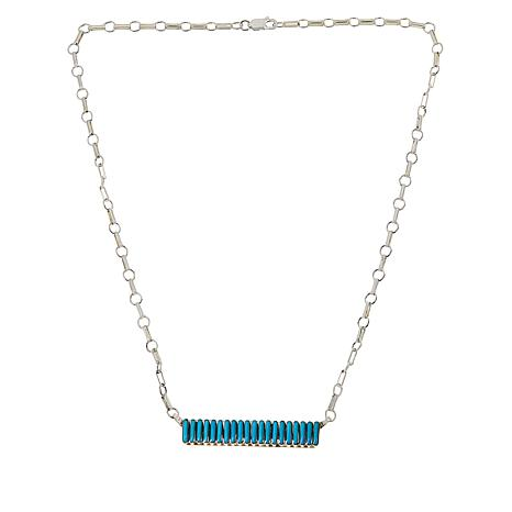 Chaco Canyon Zuni Sleeping Beauty Turquoise Bar Necklace