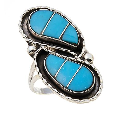 Chaco Canyon Zuni Sleeping Beauty Turquoise Elongated Inlay Ring