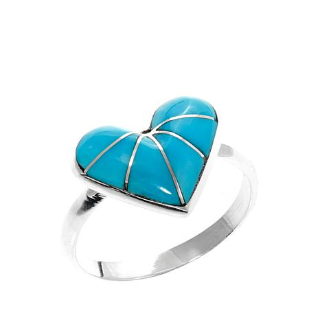 Chaco Canyon Zuni Turquoise Heart-Shaped Ring