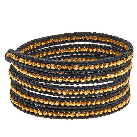 Chan Luu Gold-Plated Bead Leather Wrap Bracelet