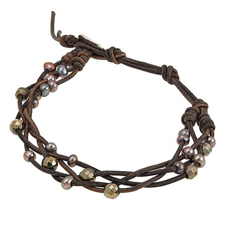 Chan Luu Taupe Cultured  Pearl Twisted Brown Leather Cord Bracelet
