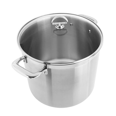 Chantal Induction 21 Steel Stock Pot with Glass Lid - 12 Quart