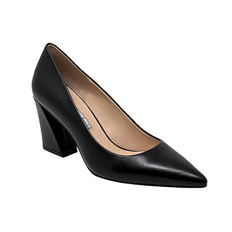 Charles David Arsenal Leather Pointed-Toe Block-Heel Pump
