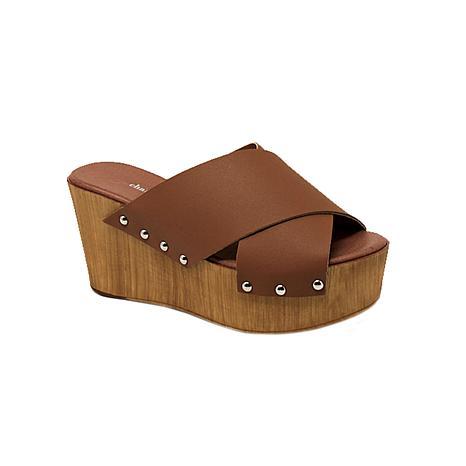 Charles David Fiji Leather Platform Slide Sandal
