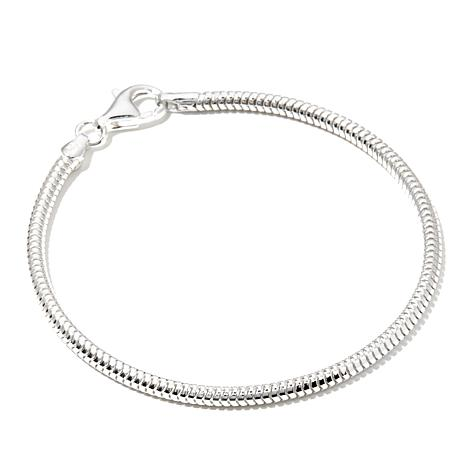 "Charming Silver Inspirations Snake Chain 8.25"" Bracelet"