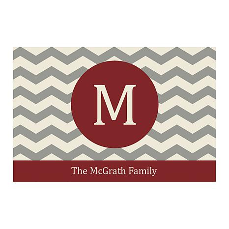 Chevron Family Name Personalized Door Mat - Wine