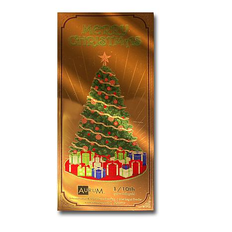 Christmas Tree  24K Gold Aurum Collectible Note