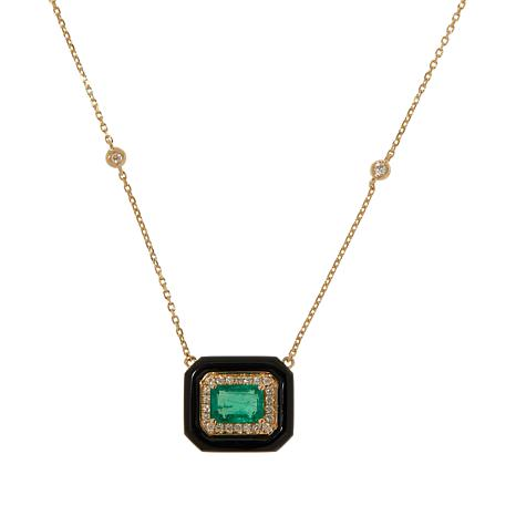 "Cirari 18"" 14K Gold Emerald, Onyx and Diamond Necklace"