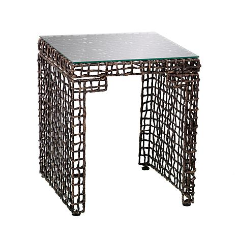 Cisco Woven Hyacinth Blackwashed Brown End Table