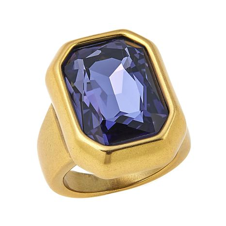 """CLB NYC """"Concrete Jungle"""" Colored Crystal Goldtone Ring"""