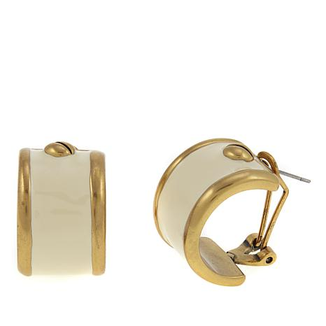 "CLB NYC ""Shinto"" Enamel Nail Head Hoop Earrings"