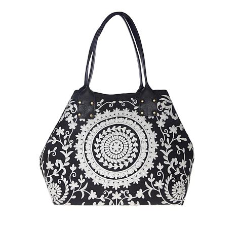 Clever Carriage Crewel Embroidered Shopper