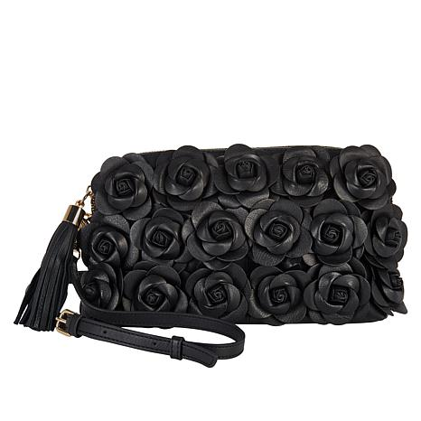 Clever Carriage Handcrafted Leather Rose Crossbody Clutch