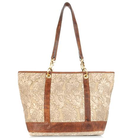 Clever Carriage Lace and Embossed Leather Tote - Limited Quantity