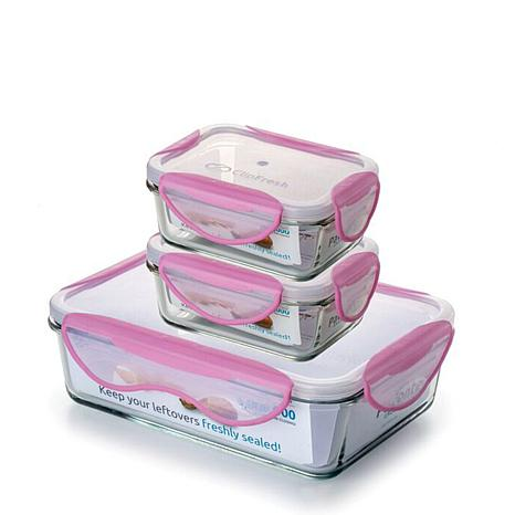 ClipFresh 6 piece Glass Rectangular Food Storage Container Set