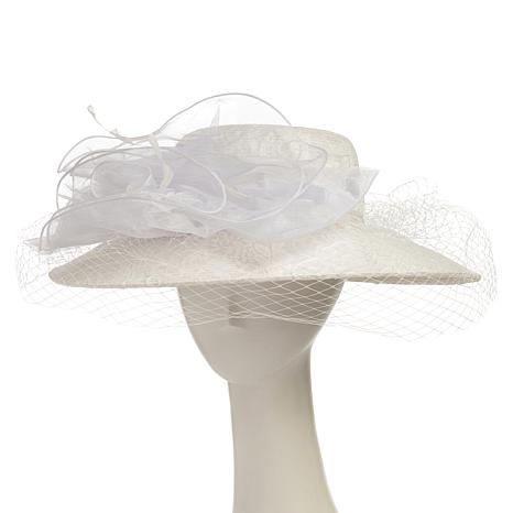 Collection 18 Wide-Brim Lace Hat with Organza Bow