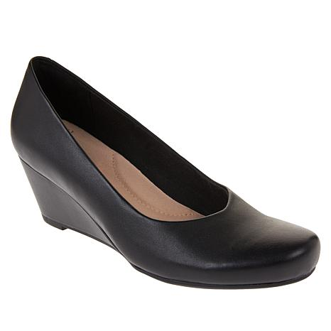 Collection by Clarks Flores Tulip Leather Wedge Pump