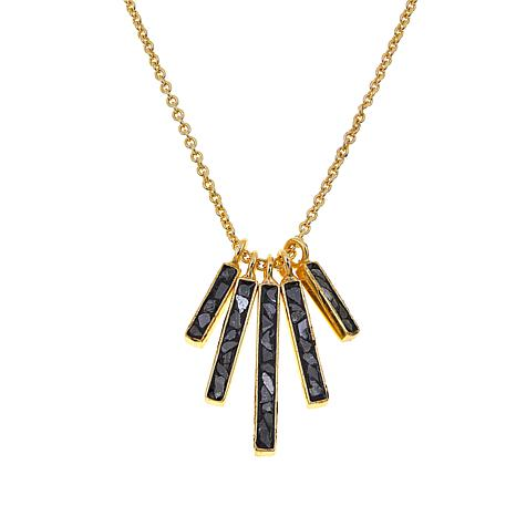 Collections by Joya Deco Fan Drop Necklace with Black Diamond Shards
