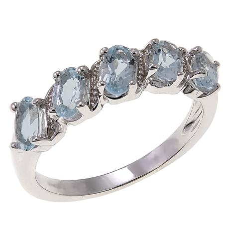 Colleen Lopez 0.95ctw Oval Aquamarine 5-Stone Sterling Silver Ring