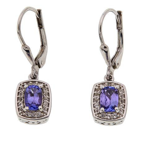 Colleen Lopez 1.34ctw Cushion-Cut Tanzanite and White Topaz Earrings