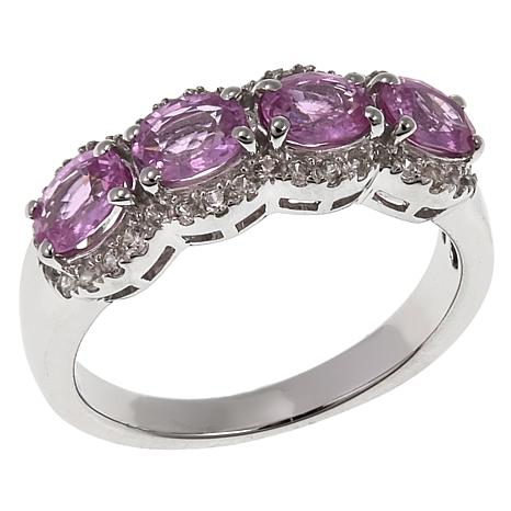Colleen Lopez 1.84ctw Pink Sapphire and Zircon Band Ring