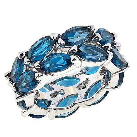 Colleen Lopez 2-Row London Blue Topaz Sterling Silver Band Ring