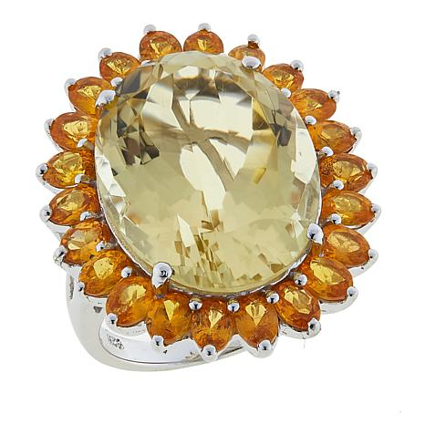 Colleen Lopez 23.22ctw Citrine and Spessartite Sterling Silver Ring