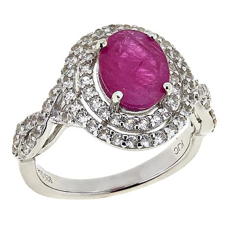 Colleen Lopez 2.78ctw Burmese Ruby and White Zircon Ring