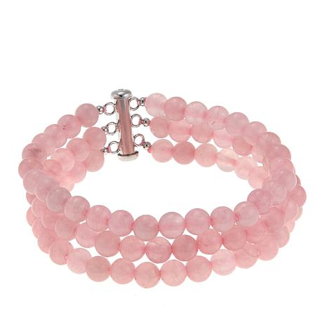 "Colleen Lopez 3-Row Gemstone Bead 7-1/2"" Bracelet"