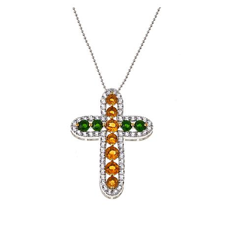 Colleen lopez 436ctw citrine chrome diopside cross pendant w colleen lopez 436ctw citrine chrome diopside cross pendant wchain aloadofball Images