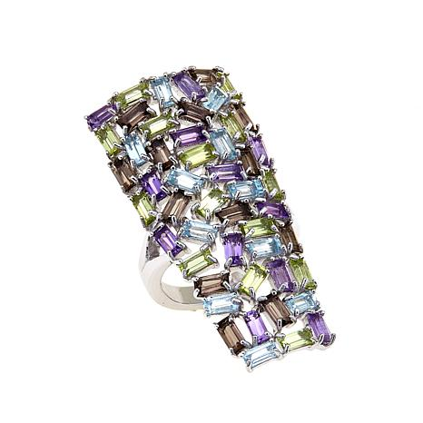 Colleen Lopez 5.74ctw Multigemstone Baguette Ring