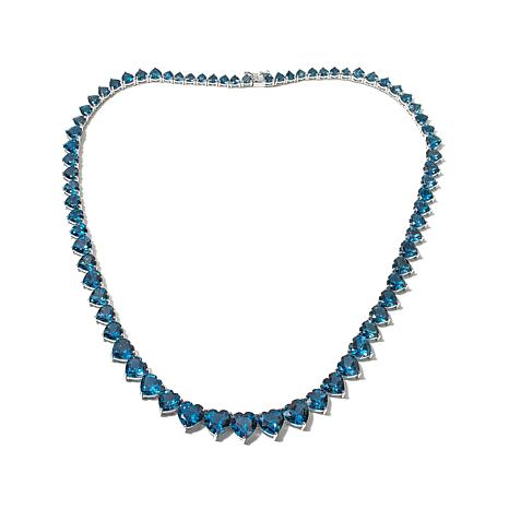 "Colleen Lopez 67.06ctw Blue Topaz 18"" Heart Necklace"