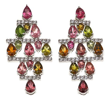 Colleen Lopez 8.7ctw Multi Tourmaline and White Zircon Drop Earrings