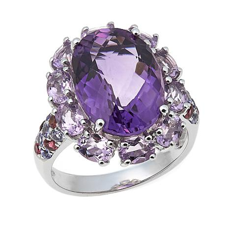 Colleen Lopez Amethyst, Tourmaline and Tanzanite Sterling Silver Ring