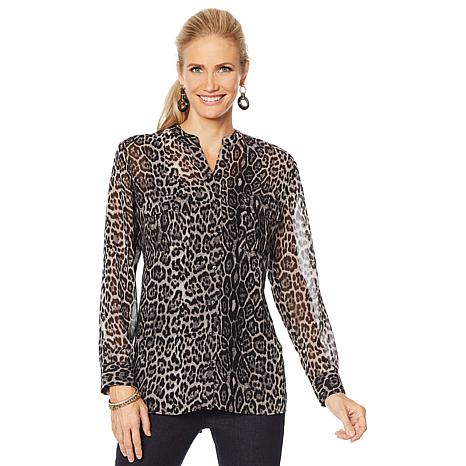 Colleen Lopez Animal Print Button-Down Blouse