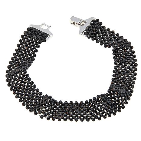 Colleen Lopez Black Spinel Bead Sterling Silver Bracelet