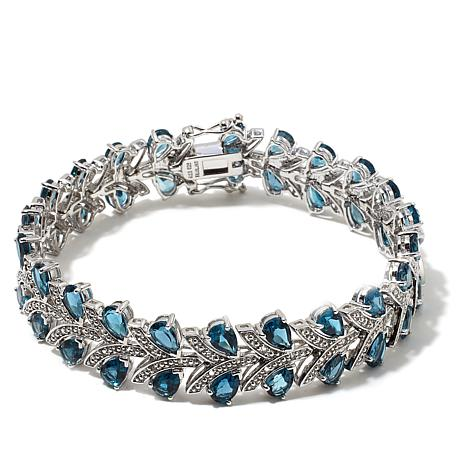 Colleen Lopez Chevron 22ctw London Blue And White Topaz Sterling Silver 7 1 2 Bracelet