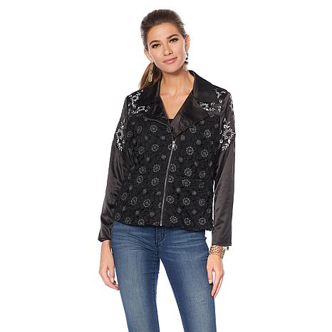 Colleen Lopez Darling Dame Lace-Embroidered Moto Jacket