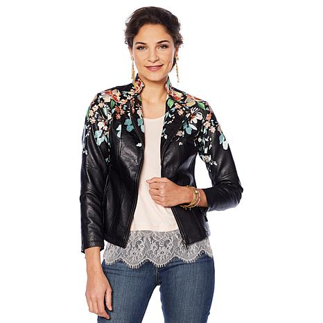 Colleen Lopez Embroidered Faux Leather Jacket