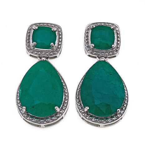 Colleen Lopez Emerald City Color Enhanced Sterling Silver Drop Earrings