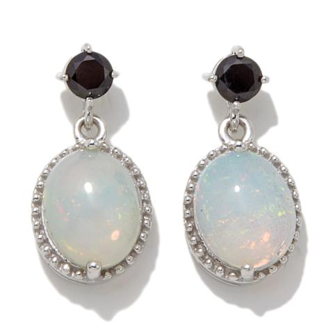 Colleen Lopez Ethiopian Opal and Black Spinel Earrings