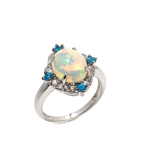 Colleen Lopez Ethiopian White Opal and Gemstone Ring
